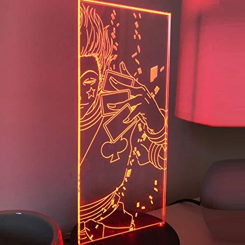 Anime Hunter X Hunter Hisoka Lámparas Acrílico 3D Noche Luz LED Cambio de Color Luz de Noche para Niños Dormitorio Decoración Luz Regalos
