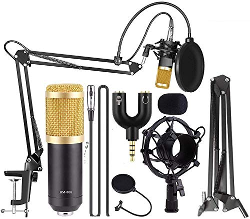 Techtest BM800 Broadcasting Studio Recording Condenser Microphone Mic Kit with Plastic Shock Mount Adjustable Suspension Scissor Arm Stand Pop Filter 3.5mm Audio Jack to Headphone Microphone Splitter