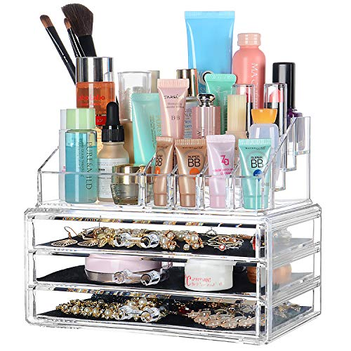 SortWise  [DIY Buildable - L] Detachable 3 Drawers Acrylic Cosmetic Makeup Cosmetics Organizer Clear Storage Container Box Case Multipurpose / 9.4' X 7.5', 2 Pieces Set