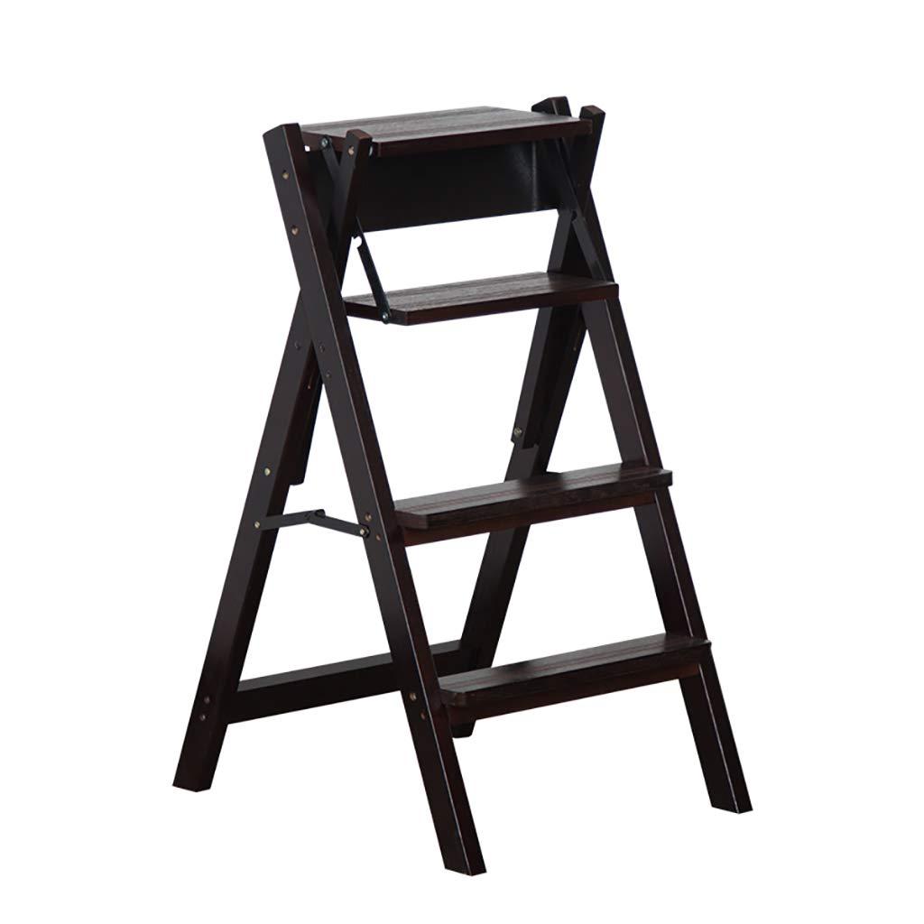 Escalera de tijera de madera maciza, taburete plegable de 4 niveles Silla de escalera multifuncional Asiento de banco Utilidad, Taburete de escalera de transformación creativa Cocina Oficina Silla d: Amazon.es: Hogar
