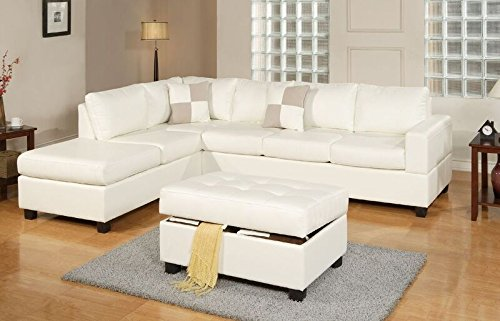 - Bobkona Soft-touch Reversible Bonded Leather Match 3-Piece Sectional Sofa Set, Cream