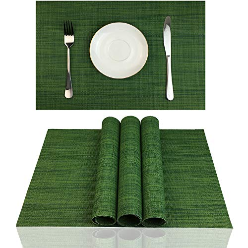 ZX VISION Heat Resistant Placemats for Dining Tbale Woven Vinyl Washable Place Mats Wipe Clean PVC Table Mats,Set of 4,Best Gift(Algae Green)