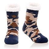 Kids Boys Girls Fuzzy Slipper Socks Soft Warm Thick Fleece lined Christmas Stockings For Child Toddler Winter Home Socks (Blue Camouflage, 8-12 Years)