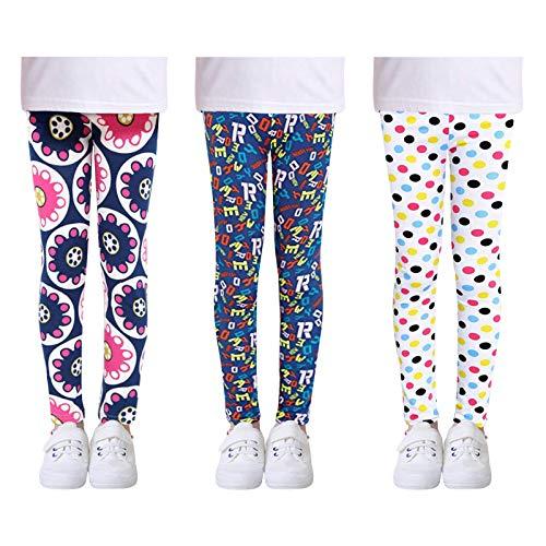 L SERVER Niñas Leggings Estampados Elásticos Primavera Otoño Pantalones Deportivos Cómodos para Niñas Paquete de 3 Coloridos, C, 12-14 años Etiqueta 160