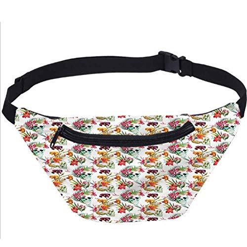 Skull Fanny Pack,Lilies Blossoms Skull Waist Bag for Women Men Kids