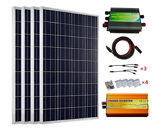 ECO-WORTHY 480 Watt 24 V SOLARMODULE komplett Kits: 4 Stück 120 W Solar Panel + 1000 W 12 bis 220 V Inverter + 45 A PWM Laderegler Item Name (aka Title)