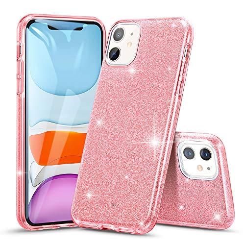 ESR Glitzer Hülle kompatibel mit iPhone 11 Hülle - Glitzer Funkel Klunker Case [DREI Schichten] für Frauen [Unterstützt kabelloses Laden] für das iPhone 11 (2019) - Roségold