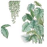 4 Piezas Vinilo Decorativo Plantas Tropicales, Vinilo Decorativo Hoja Planta Tropical, Adecuado para Dormitorio, Sala de Estar, Comedor, Pared de Fondo de Tv, Pasillo, Oficina, Tienda, Etc