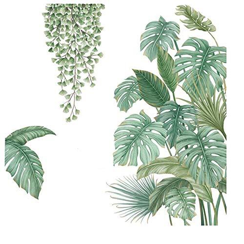 4 Piezas Vinilo Decorativo Plantas Tropicales, Vinilo Decorativo Hoja Planta Tropical, Adecuado para Dormitorio, Sala de Estar, Comedor, Pared de Fondo de Tv, Pasillo,...