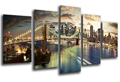 Cuadro Fotográfico Ciudad New York City, Atardecer Tamaño total: 165 x 62 cm XXL