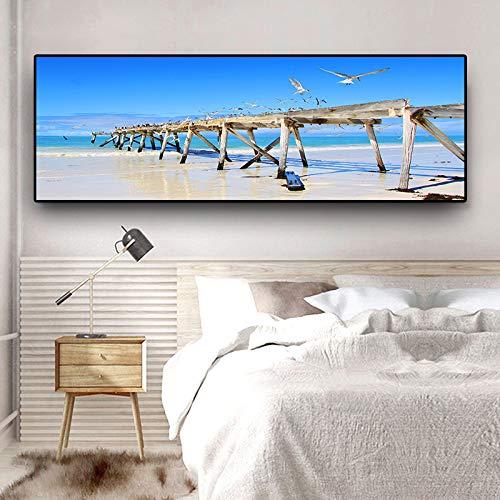 Natuur Oceaan Zee Golven Zeevogel Lucht Wolken Panorama Landschap Canvas Schilderij Posters En Prints Wall Art Foto Voor Woonkamer D 60x160cm Geen Frame