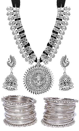 YouBella Jewellery Sets for Women Silver Plated Afghani Tribal Necklace Jewellery Set...