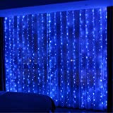 HXWEIYE 300LED Blue Fairy Curtain Lights with Remote 8 Modes Timer for Bedroom, 9.8x9.8Ft USB Plug in Fairy String Lights for Outdoor, Weddings, Party, Garden, Wall, Decorations