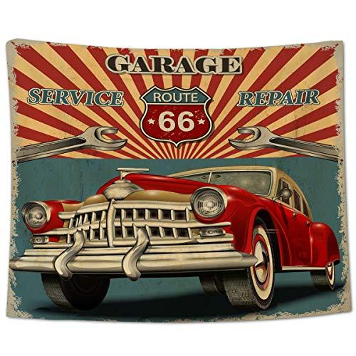 Yo Chairon Tapiz para colgar en la pared, diseño vintage de la ruta americana 66, para oficina, cocina, dormitorio, sala de estar, decoración antigua, retro, clásico, cochera, cochera, 150 x 230 cm