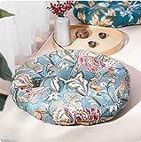 BNSDMM Algodón de Lino del Amortiguador de glúteos Estilo japonés futón Espesado Ronda Cojín Balcón Mirador Tatami meditación Cojín de Suelo (Color : F Flower)
