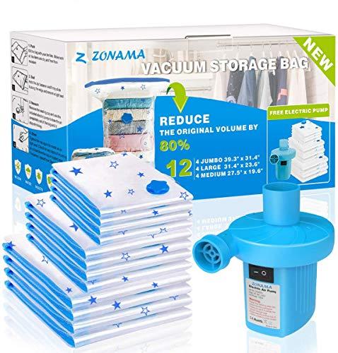 Vacuum Storage Bags with Electric Air Pump, 12 Pack (4 Jumbo, 4 Large, 4...