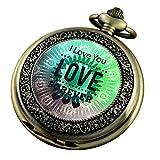 VIGOROSO Reloj de bolsillo para mujeres, hombres, relojes verdes con cadena y...