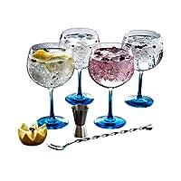 luminarc - fiesta combinados, set per cocktail a base di gin, 6 pz., incl. 4 bicchieri con base colorata, misurino e cucchiaino