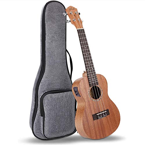 Electric Concert Ukulele Ranch EQ 23 inch Mahogany Solid Top Professional Ukuleles Upgraded Instrument with 12 Free Online Ukelele Lessons and Gig Bag – Natural