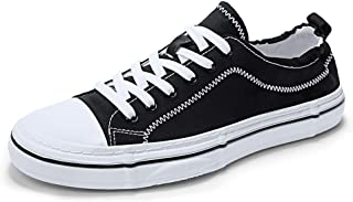 XUJW-Shoes, Mens Soft Durable Canvas Shoes for Men Fashion Casual Skate Sneakers Lightweight Breathable Vegan Simple Anti-Slip Flat Lace Up Round Toe (Color : Black, Size : 8 UK)