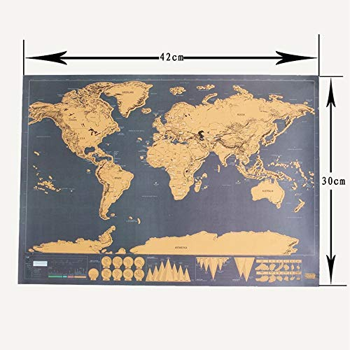 NLLeZ 1 stück 42 * 30 cm Scratch Off Journal Retro World Globe Map Personalisierte Atlas Poster mit Land Flagge Dekoration für Büroschule