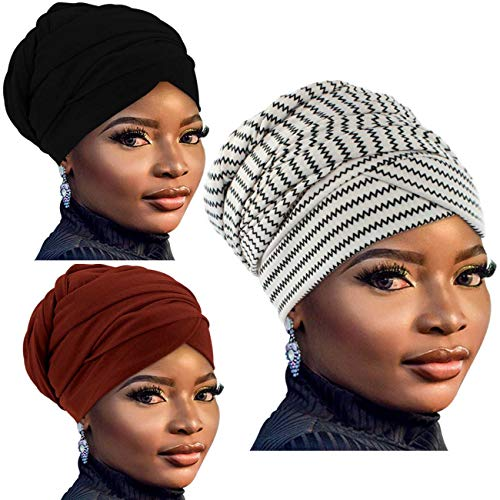 Deokke African Head wraps for Women,African Long Scarf Turban Shawl Hair Bohemian Headwrap,Soft Breathable Headwrap (3-Black+Red+Black and White)