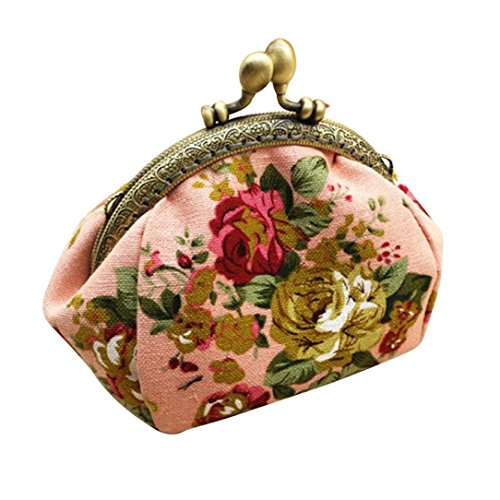 Coin Bag, Xinantime Retro Vintage Flower Small Wallet Hasp Clutch Purse Bag (Pink)