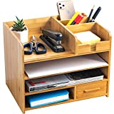 Bamboo Desktop Organizer | Home Office Bamboo Desk Drawer Organizer - 4 Tier Durable Wood Table Top Storage for Pencils, Notepads, Documents & Office Supplies
