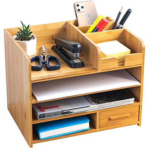 Bamboo Desktop Organizer   Home Office Bamboo Desk Drawer Organizer - 4 Tier Durable Wood Table Top Storage for Pencils, Notepads, Documents & Office Supplies