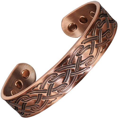 Mens Pure Copper Magnetic Bracelet Celtic Bracelet Magnetic Therapy Healing Bracelet Bangle Wristband Arthritis Pain Relief Gift Boxed - CP (L: Wrist 7.6-8.75')