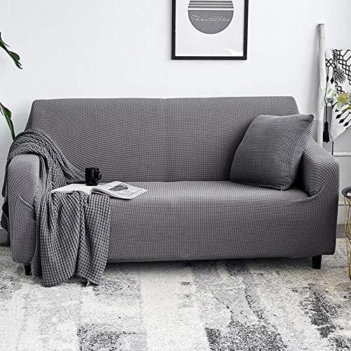 DANNEIL Cubre Sofa,Funda De Sofá De Cuero Elástico Universal En Color Liso 123 Combinación De Funda De Sofá Universal Antideslizante, Decoración De Su Sofá-Plata Gris_180-225cm