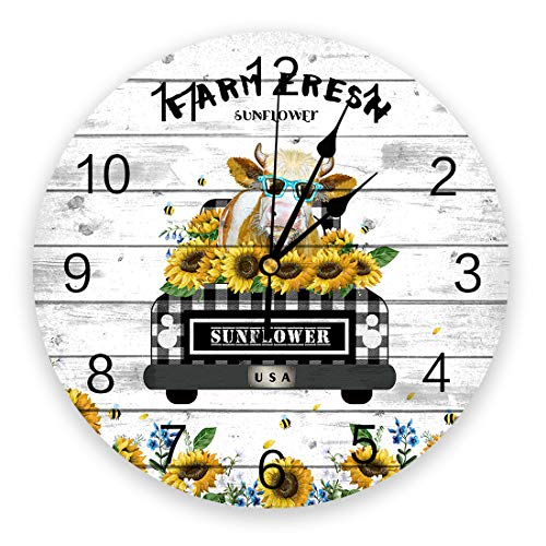 10 inch Round PVC Wall Clock, Silent Non-Ticking Battery Operated Clock, Farm Fresh Sunflower Cow on Car with Black Buffalo Check Plaid Wood Board Background Desk Clock for Home,Office,School,Kitchen