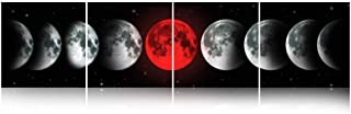 Faicai Art Black and White Canvas Prints Stretched Artwork 9 Phases of Red Moon Eclipse Abstract Space Planet Pictures On Canvas Wall Art for Living Room Bedroom Office Wall Decor Framed 16