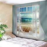 Beach Deocr Tapestry, Ocean Sea Tropical Island Palm Tree Scenic View From Balcony White Wooden Windows Summer Tropical Scenery Wall Hanging Tapestry For Bedroom Living Room Dorm. Multi 70x92Inch