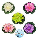 Schwimmende Blumen Künstliche Seerosen Schwimm Lotus Blumen Wasserlilie Pflanzen Seerose Blume Dekor Künstliche Lotus Blume Schaum Lotusblume Dekoration für Aquarium Terrasse Garten Teich 5pcs