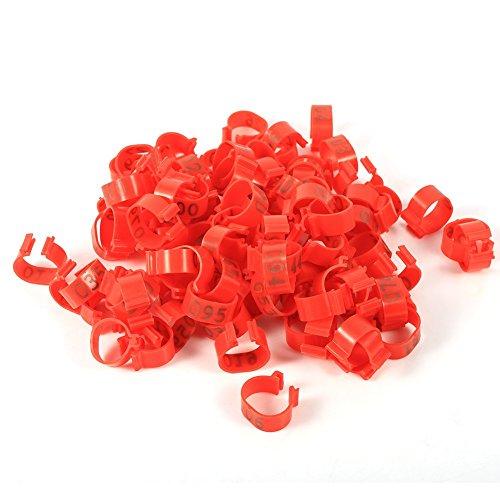 100 PCS/sac anneaux de pigeon, 16MM 001-100 numérotés en plastique volaille poulets canards oie jambe bandes anneaux (Red)