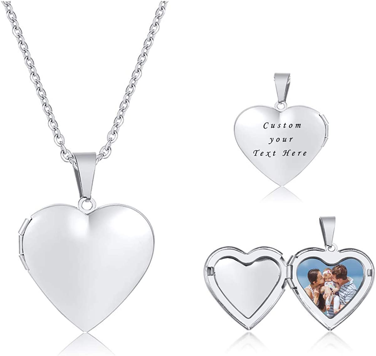 VNOX Love Heart Locket Necklace That Holds Pictures Custom Name Quote Personalized Lockets Necklaces Birthday Gifts for Women Men Girls Boys