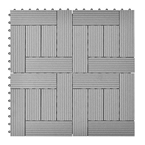 Suelo Entrelazado para terraza de jardín, 11 Piezas, baldosas para terraza, para jardín, Patio, balcón, baño, Gris, 30x30 cm