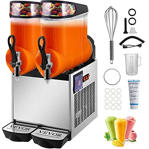 VEVOR 110V Slushy Machine 24L Double Bowl Frozen Drink 700W Stainless Steel Margarita Maker for...
