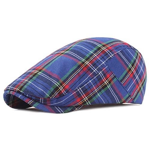 DORRISO Elegant Mens Flat Cap Adjustable Flat Caps Check Stripe Classic Beret Cap Travel Leisure Vacation Hats Men Newsboy Cabbie Driving Hat Blue