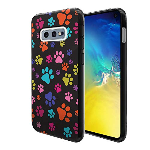 FINCIBO Case Compatible with Samsung Galaxy S10E 5.8 inch, Flexible TPU Black Soft Gel Skin Protector Cover Case for Galaxy S10E (NOT FIT S10) - Multicolor Paws Dog