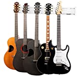String Swing Guitar Wall Mount Rack – Holds 5 Acoustic, Electric or Bass Guitars SW5RL-W-K