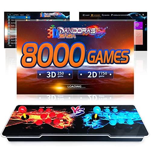 Pandora's Box, 8000 Giochi in 1 Console Pandora Arcade Game Console Macchina WiFi 3D con Market Incorporato 10000+ Giochi da Download, Supporto per 4 Giocatori, PC / TV / PS3 (HDMI VGA USB)