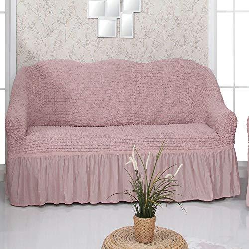Mixibaby Sofabezug Sofahusse Sesselbezug Sitzbezug Sesselüberwurf Stretchhusse 2 er Sofa, Farbe:Altrosa