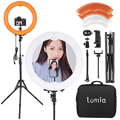 Lomia LEDリングライト 撮影用ライト 外径20インチ55W 5500K カメラ写真ビデオ用照明セット 無段階調光、堅牢で安定した三脚、電話ホルダーの360度回転 ライトスタンド、スマートフォン、Youtube、自撮り撮影と美容化粧などに使え