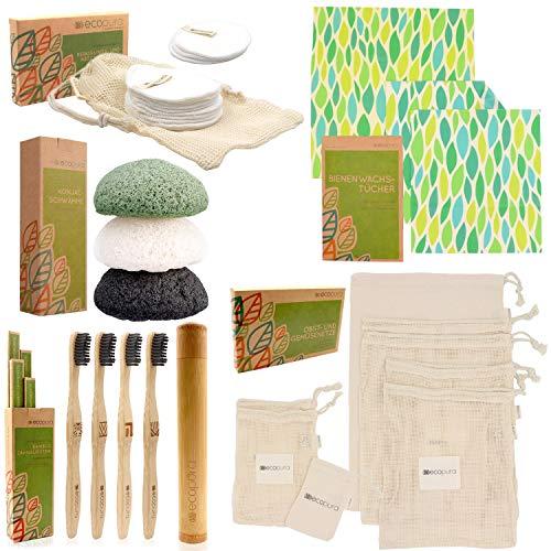 """ecopura® Zero Waste Set """"Plastikfrei"""" - Bambus Zahnbürsten, Konjac Schwamm, Bienenwachstücher, Wattepads, Obst-/ Gemüsebeutel – Umweltfreundliche Kosmetik Produkte, Nachhaltige Geschenke für Frauen"""