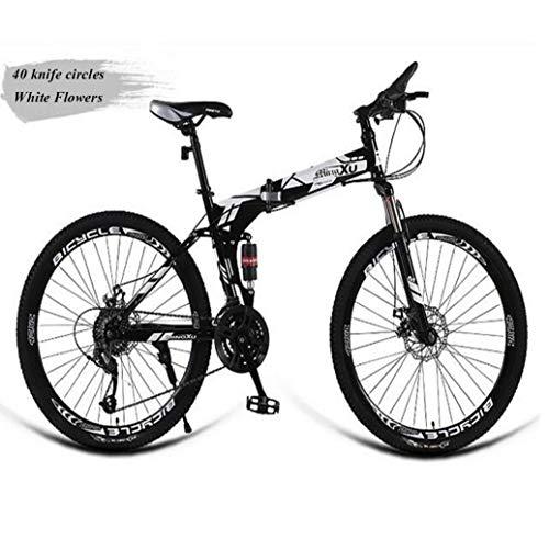 RPOLY Bicicleta Plegable/Unisex, de 27 velocidades Bici Plegable Bicicleta de montaña con Las defensas de Gran Urbana a Caballo y Campo a través,White_24 Inch