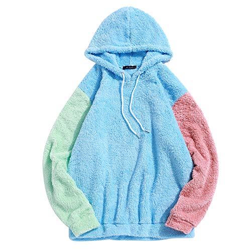 ZAFUL Men's Color Block Fuzzy Hoodies Unisex Long Sleeves Sherpa Loose Fluffy Pullover Drawstring Hooded Sweatshirts Light Sky Blue