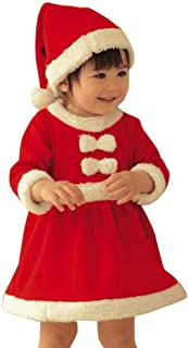 Christmas Outfits Toddler Girls Birthday Festival Party Xmas Bowknot Princess Dresses+Hat 2 Piece Outfit