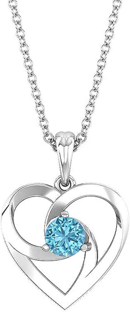 Open Heart Necklace, 1/3 CT Round Shaped 4 MM Aquamarine, Solitaire Pendant, Love Charm Pendant, Gold Gemstone Jewelry, Valentines Gift for Her 10K Gold